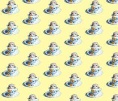 Hedgehog Tea In Yellow fabric by golders on Spoonflower - custom fabric