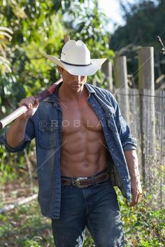 cowboys with their shirts open; These cowboys are hot off the ranch. Texas Cowboys, Hot Cowboys, Cowboy Up, Cowboy Hats, Mens Clothing Guide, Baxter Black, Best Eye Candy, Country Men, Country Life