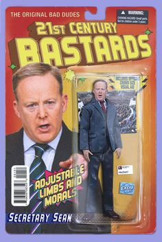 21st Century Bastards Fake-Actionfigures feat. Bannon, Spicer, Conway and Thatchers Ghost