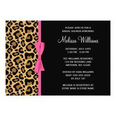Leopard Pattern Pink Printed Ribbon Bridal Shower 5x7 Paper Invitation Card