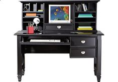 Shop for a Belmar Black 2 Pc Desk and Hutch at Rooms To Go Kids. Find that will look great in your home and complement the rest of your furniture. #iSofa #roomstogo