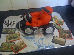 Go Kart memory cake I made, I loved using the old photos from when the birthday boy was younger around the cake, made it truly special! Birthday Party Themes, Boy Birthday, Go Kart, How To Make Cake, Old Photos, Food Art, Old Things, Daughter, Party Ideas