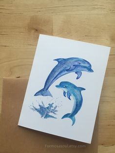 Set of 5 Dolphin Swimming Greeting Cards, Watercolor illustration Cards, Any Occasion Cards, Note Cards by Formosasoul on Etsy Watercolor Illustration, Dolphins, Note Cards, Moose Art, Greeting Cards, Swimming, Notes, Hand Painted, Unique Jewelry