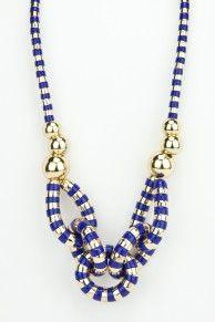 Blue stripe link necklace