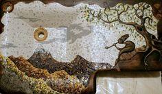 Originálne drevené umývadla s keramickou mozaikou 9