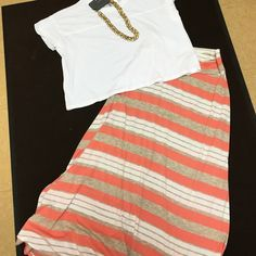 Striped maxi skirt NWOT super light and comfy, orange, cream, and white stripes, open to reasonable offers, no trades Macy's Skirts Maxi