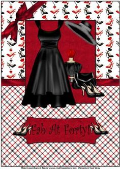 Fab at Forty Little Black Dress A4 Card Front
