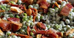 Crunchy Pea Salad with Bacon & Cashews Jam Hands: Knuspriger Erbsensalat mit Bacon & Cashews Veggie Side Dishes, Vegetable Sides, Side Dish Recipes, Pea Salad With Bacon, Bacon Salad, Healthy Menu, Healthy Recipes, Summer Salads, Soup And Salad