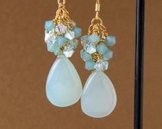 Seafoam Chalcedony Dangle Gold Earrings by MaryMorrisJewelry, $40.00 Swarovski Crystal Elements