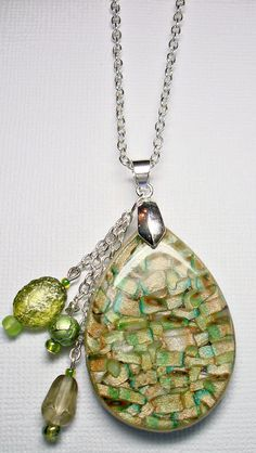 Topaz Green Mica Shift Pendant with Bead Dangle via Etsy. SOLD