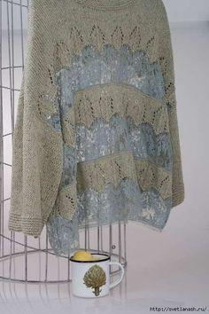 Knitting Machine Patterns, Poncho Knitting Patterns, Lace Knitting, Knitting Stitches, Knitted Poncho, Knitwear Fashion, Knit Fashion, Freeform Crochet, Crochet Lace