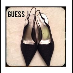 Guess Fabric Slingback Heels, 7.5M Classic sexy slingback heels by Guess. Overall in good shape with exception to the bottom tips that  show wear.   Please feel free to ask me any questions and thank you for taking a look and sharing.  Guess Shoes Heels