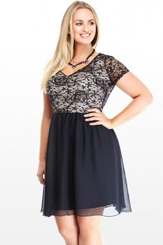 Plus Size Lace and Chiffon Dress   Fashion To Figure.