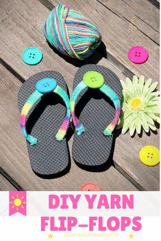 AnnMarie John: Make it a Cheerios™ Summer with DIY Yarn Flip-Flops - Flip Flop Craft, Kids Flip Flops, Beach Flip Flops, Flip Flops Diy, Bling Flip Flops, Flip Flop Shoes, Crochet Flip Flops, Decorating Flip Flops, Shoe Refashion
