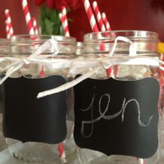 Personalized mason jars for a country theme party could use these for 2 in 1 deal one use for guests to drink out of and 2 they could take them home for there favors (:
