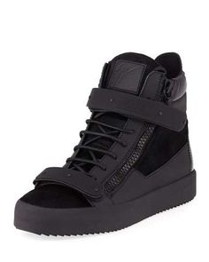1024d35f525 Giuseppe Zanotti Men s Monochrome Double-Strap Calf-Hair High-Top Sneakers