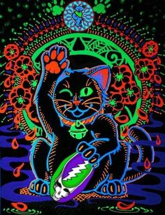Oh god, do I put this in my cats board or on my Dead board? Grateful Dead Image, Lsd Art, Dead And Company, Black Light Posters, Hippie Art, Band Posters, Light Painting, Psychedelic Art, Art Logo