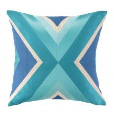 Trina Turk Building Embroidered Pillow, Blue
