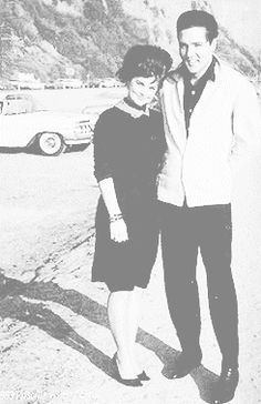 Seventeen year old Priscilla Beaulieu with Elvis at Will Rogers beach in California, 1963.  #elvisserendipity