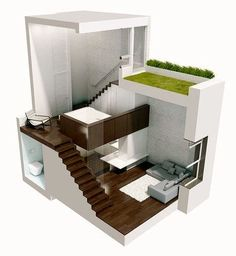 a cutaway of a tiny townhouse complete with a little roof lawn (or garden) to minimize its carbon footprint