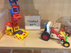Finished work shelf Classroom Setting, Classroom Design, Early Years Displays, Block Play, Construction Area, Year 2, Eyfs, Trays, Shelf