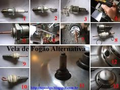 Foto: Vela de Fogão Alternativa - 1. Vela de carro com defeito; 2-3. Descartar a…