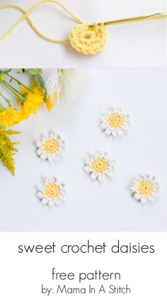 Sweet daisies – free flower crochet pattern such a fun and simple warm weather craft project this post also shows you how to make them into napkin rings freepattern crochet flowers Crochet Puff Flower, Crochet Daisy, Crochet Flower Patterns, Diy Crochet, Crochet Crafts, Crochet Flowers, Crochet Projects, Crochet Ideas, Crochet Accessories Free Pattern