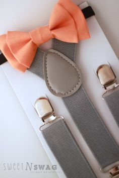 ring bearer = SUSPENDER & BOWTIE SET.  Newborn - Adult sizes. Light Grey suspenders. Orange Bow tie.