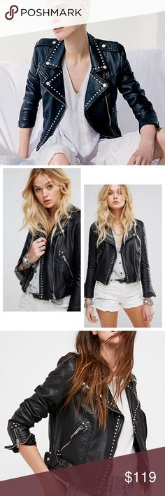 Free People Studded Vegan Faux-Leather Moto Jacket This must-have moto jacket from Free People delivers irreverent, rock-ready vibes with gleaming studs and a sleek faux-leather design. * Fits true to size * Spread collar, snap epaulettes, long sleeves, zip cuffs * One zip chest pocket, exposed zip front closure, two side zip pockets * Buckle belts at sides, silver-tone stud embellishment, lined * Shell: polyurethan; shell back: rayon; lining: rayon Free People Jackets & Coats