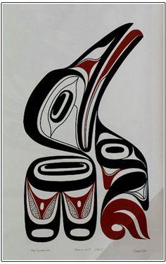 Kaa-in -Crow (Artist Proof) - Morris Sutherland Inuit Kunst, Inuit Art, Arte Haida, Haida Art, American Indian Art, Native American Art, Kunst Der Aborigines, Sketch Manga, West Art
