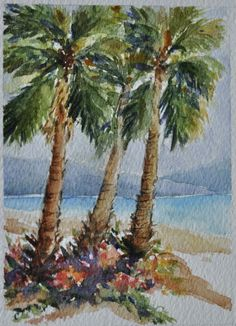 "One of my small paintings of Palm Trees measuring 3.25"" x 4.5"" for an upcoming public art project called Art2Go."