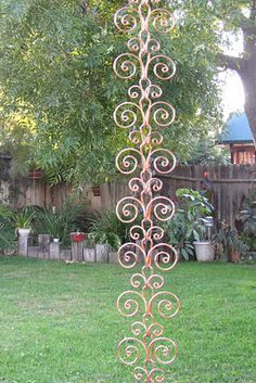 8 Ft Solid Copper Swirl Rain Chain - Kusari Doi