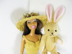 Barbie Handmade Crochet Dress Hat Shoes and Cute by ToneyTreasures