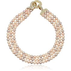 "Carolee ""The Plaza"" The Plaza Pink Pearl Triple Row Necklace, 16"" ($125) ❤ liked on Polyvore featuring jewelry, necklaces, choker necklace, pink pearl necklace, white pearl choker necklace, pink necklace and pearl jewellery"