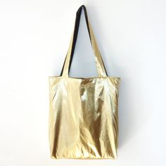Metallic Gold Tote Bag - Reversible. $25.00, via Etsy.