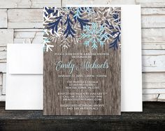 Rustic Winter Bridal Shower Invitations - Country Rustic Winter Wood Navy Aqua Snowflake - Printed Invitations