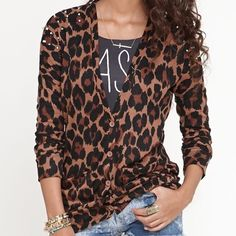 Nollie Animal Print Studded Cardigan Nollie brand animal print cardigan with studs on the shoulders. 2 pockets on the front. Good condition. PacSun Sweaters Cardigans