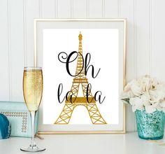 Oh la la torre de Eiffel pared lámina con arte de pared de oro de regalo