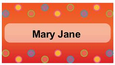 Add color to a birthday party table with this printable place card featuring multicolored dots. Free to download and print