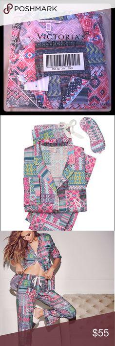 Victoria's Secret pajamas set with eye mask. The Dreamer Flannel Pajamas. XS, Regular! $54.50 Trade value. (Multicolor patchwork) Victoria's Secret Intimates & Sleepwear Pajamas