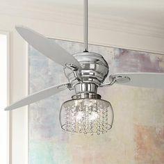 "60"" Spyder Chrome Ceiling Fan with Chrome Crystal Light Kit bedroom?"