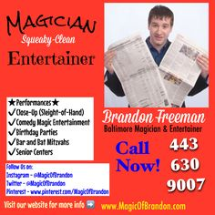 www.MagicOfBrandon.com  Comedy Magician and Illusionist | Senior Center Entertainment Specialist at Brandon Freeman Entertainment | Baltimore Maryland Magician 443-630-9007 Rosedale, MD