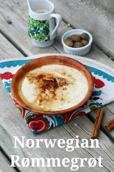 A subtly sweet, creamy homemade pudding/porridge that is easy and cheap to make. Click through for instructions! Norwegian Cuisine, Norwegian Food, Rommegrot Recipe, Viking Food, Norway Food, Nordic Recipe, Coconut Dessert, Norwegian Christmas, Scandinavian Food