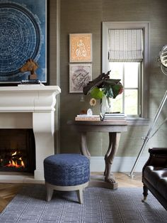 interiors by alice lane home collection | man's office, grasscloth, constellation map, fireplace, roman shade