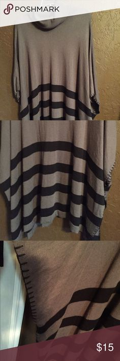 Poncho NWOT Gray and black. Faith & Zoe Turtleneck Blanket Stitch Striped Poncho All-purpose poncho can be worn as a top, with just a camisole or tank underneath. Or a light jacket over another shirt. It's light enough to wear at the first sign of fall — or on a chilly evening any time of year. A touch of cashmere makes it incredibly soft! NWOT Faith & Zoe Tops