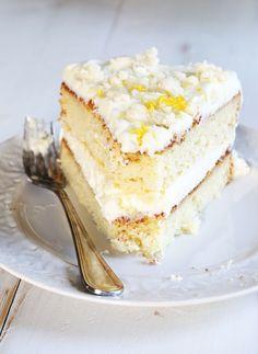 Get this tested recipe for gluten free lemon cream cake—a fluffy white cake with lemon cream filling and a crumb topping. Just like Olive Garden!