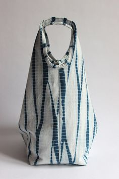 Stripes Shibori Plant Dyed Cotton Tote Bag Japanese Bag by Rejell
