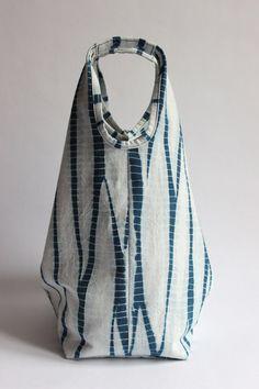 Stripes Shibori Plant Dyed Cotton Tote Bag Japanese Bag by Rejell