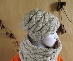 Oatmeal Hat Slouchy Beanie Knit Hat OATMEAL Women by recyclingroom