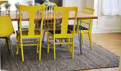 A Colorful Dining Chair Upgrade, find an older table and chair set and paint, find seat cushions.